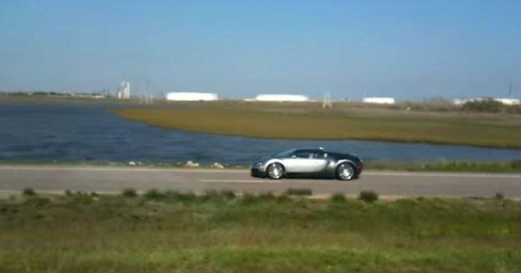 Bugatti Veyron driving near lake