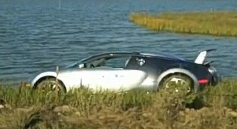 Bugatti crashes into lake