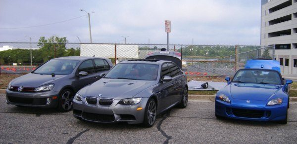 My GTI, Johnny's M3, and Aaron's S2000 at the SCCA Autocross