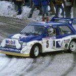 An MG Metro 6R4 slides around a bend in the 1986 Monte Carlo Rally.