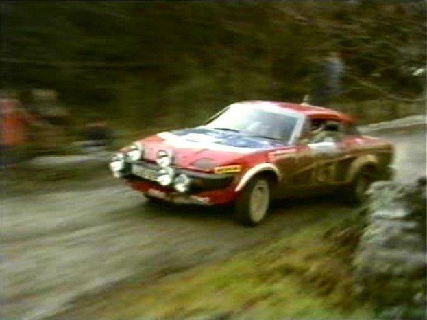 Triumph TR7 V8 rally car in action.
