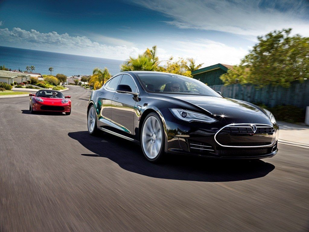 Tesla Model S Black In Motion
