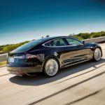 Tesla Model S Black Rear In Motion