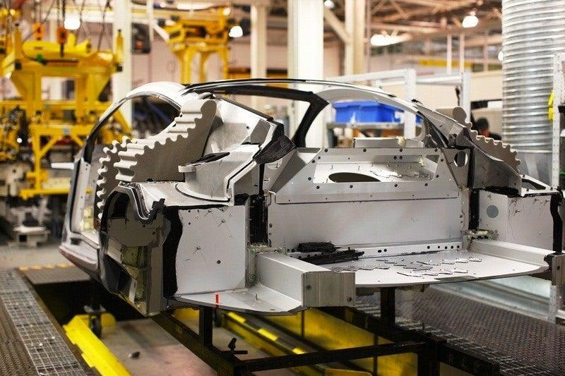 Aston Martin body panels on frame