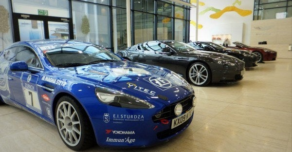Aston Martin Factory cars 600x312 A Private Tour of the Aston Martin Factory   Tea & Biscuits