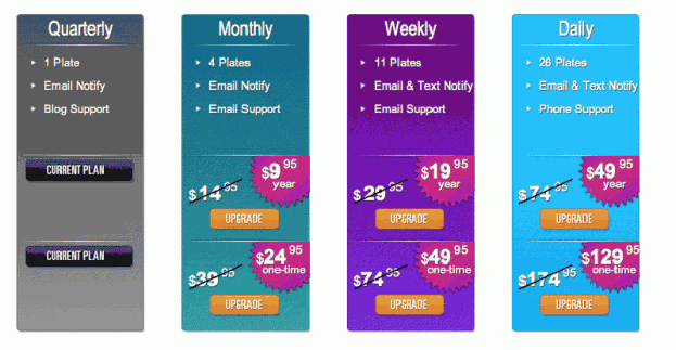 Plates Personalized Pricing Table