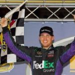2012 Bristol2 20Denny Hamlin Celebrates With Checkered Flag Tyler Barrick Getty Images