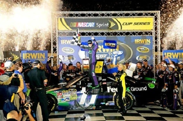 2012 Bristol2 Denny Hamlin 20Celebrates 20I2 20Victory 20Lane John Harrelson Getty Images for NASCAR