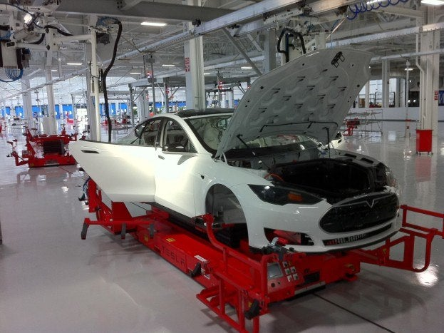 2012 Tesla Model S body in factory