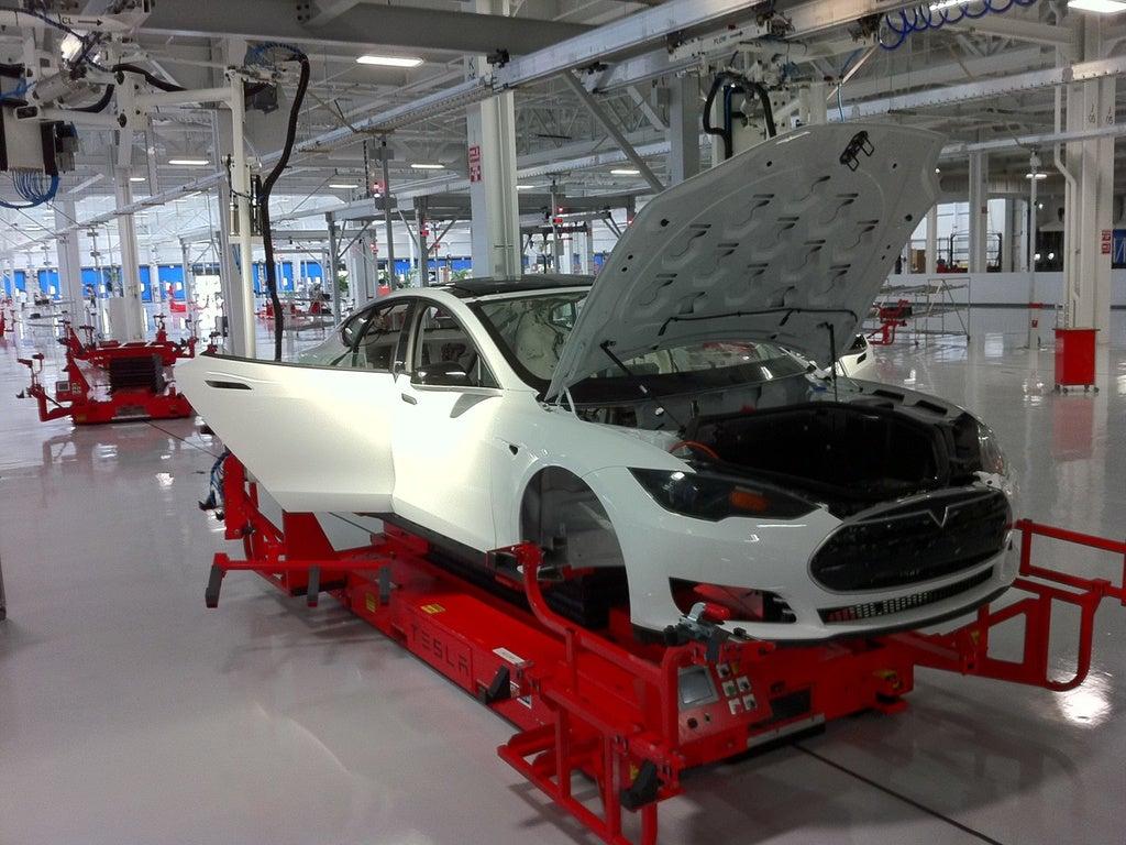 2012 Tesla Model S body in factory