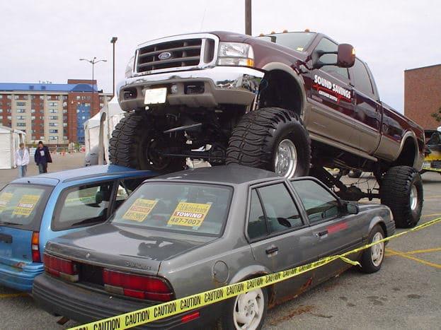 truck over cars