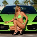 Green Lamborghini Gallardo with model