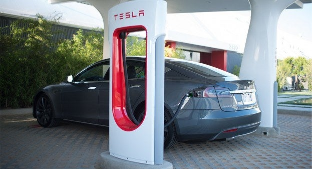 Tesla Supercharger Model S charging