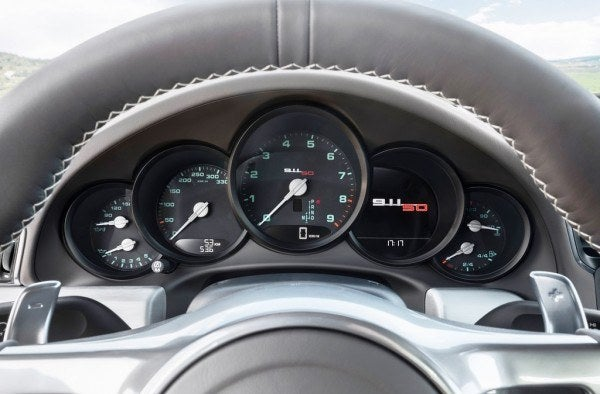 Porsche 911 50th Anniversary Edition gauge cluster