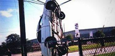 Car hanging from power line 370x180 - Is Texting While Driving as Bad as Driving Drunk?
