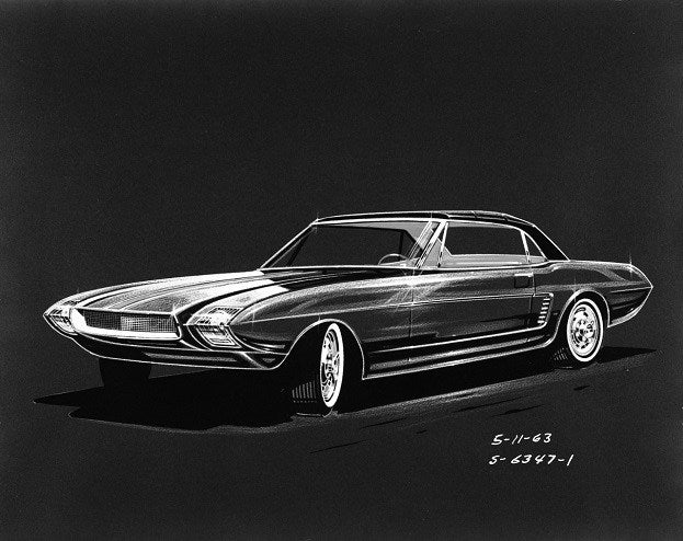 1963_Ford_Mustang_II_concept_car_rendering