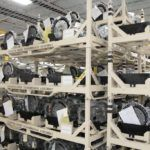Once fully assembled, eight-speed transmissions await shipping to various Chrysler Group assembly plants from the Kokomo Transmission Plant.