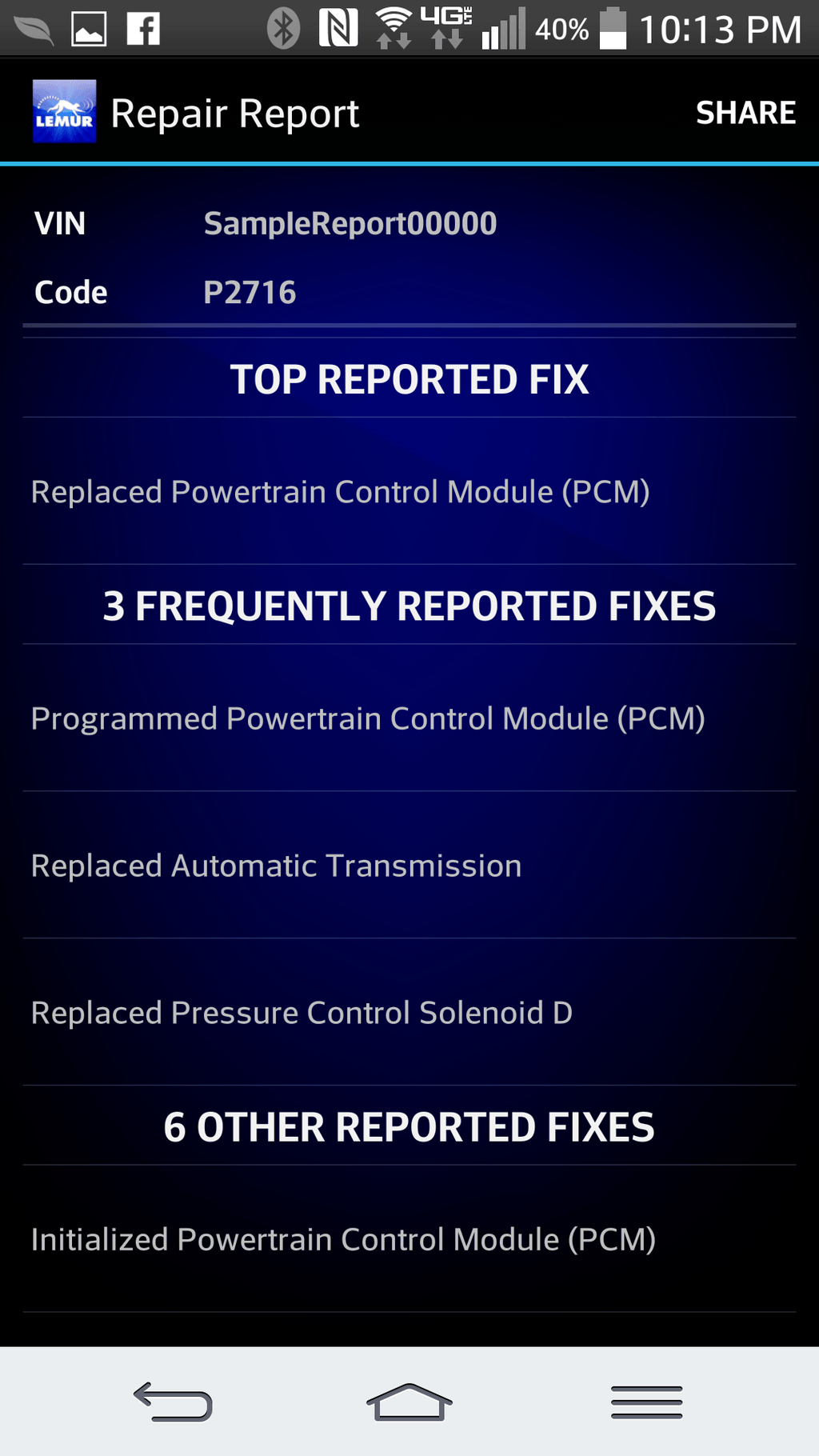 BlueDriver Reported Fixes Photo