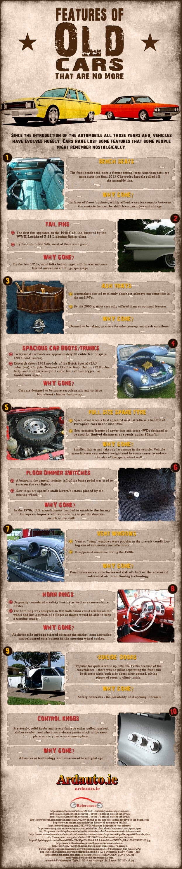 Features of old cars infographic