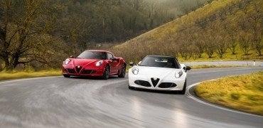 2015 Alfa Romeo 4C Coupe (left) and Alfa Romeo 4C Spider (right)