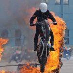 White Helmets bike stunts