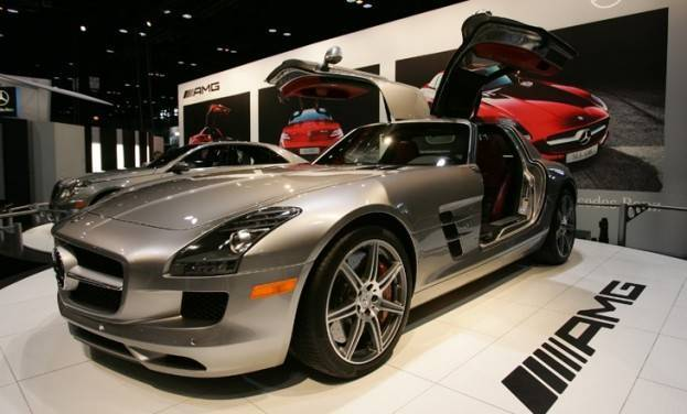 2011 Mercedes-Benz SLS AMG sits with its futuristic doors and sleek styling at the 2010 Chicago Auto Show.