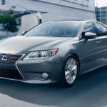 2015 Lexus ES hybrid exterior driving action nebula gray pearl overlay