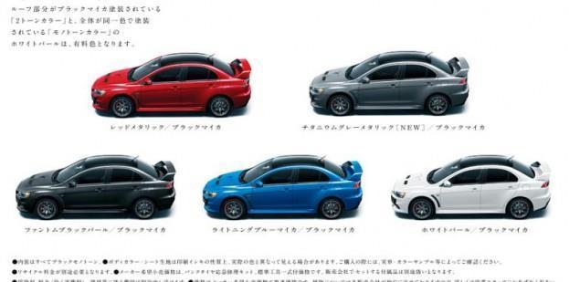 2015 Mitsubishi Lancer Evo X Final Edition Color Options
