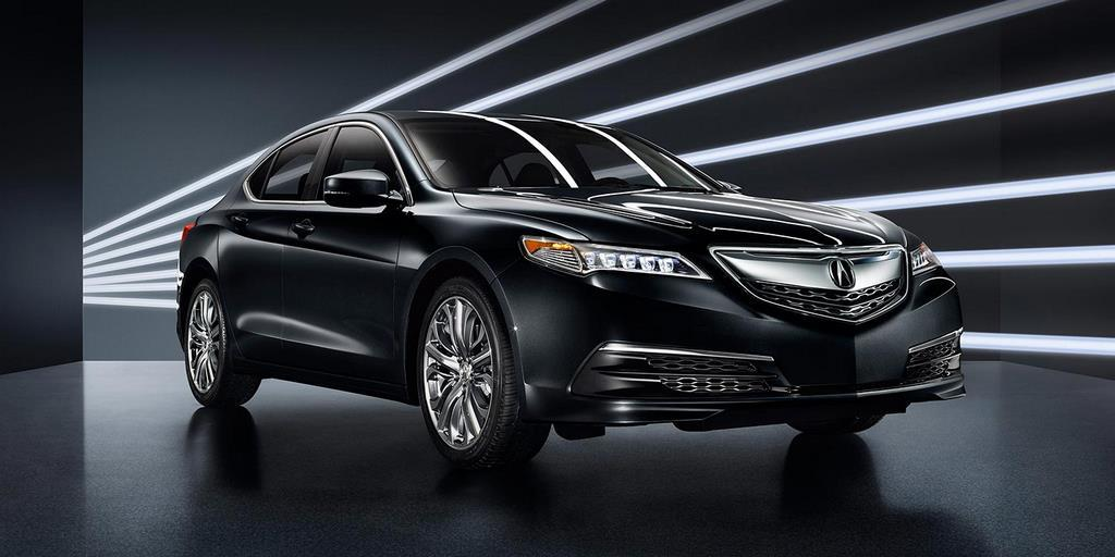 2015 tlx exterior in crystal black pearl with 19 inch diamond cut alloy wheels white lines 1