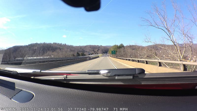 Image from a Garmin Dash Cam 35 on the road