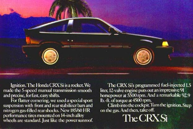 Advertisement for the 1986 Honda CRX Si