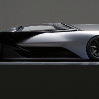 Faraday Future (FF) FFZERO1 Concept vehicle at FF's pre-CES reveal event in Las Vegas on Monday, Jan. 4, 2016. (Bizuayehu Tesfaye/ AP Images for Faraday Future)