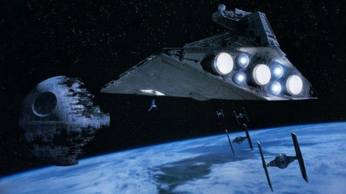 Star Wars ship approaching death star