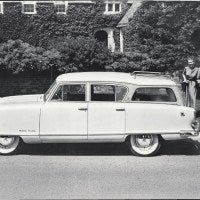 The most popular and coveted product of the new American Motors Corporation was the four-door Rambler station wagon, seen here in Custom trim. The trademark dipped roofline was designed by Bill Reddig, Assistant Director of Styling. He also suggested including the small roof rack as standard equipment, feeling it improved the looks.