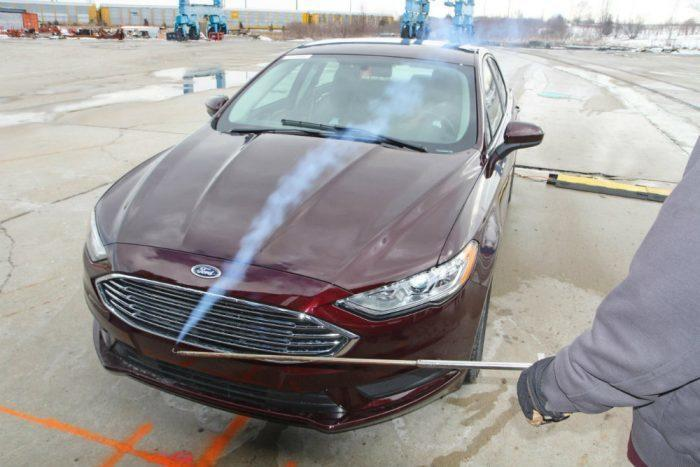 Engineers simulate wind speed with the mobile wind tunnel. Photo: Ford Motor Company
