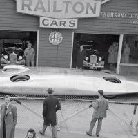 BARC Easter Meeting Brooklands April 1938 Reid Railton's (1895-1977) stunning Land Speed Record car with temporarily exposed wheel tops made its public debut outside the Thomson & Taylor showroom at Brooklands. Known as the Railton Special, it was powered by two old in-line Napier Lion W12 aircraft engines donated by sportswoman, oil millionairess, and tattooed lesbian Marion Carstairs, a close friend of Malcolm Campbell, and sourced from her speedboat Estelle V. The Special broke the World Land Speed Record twice before the war leaving it at 369.70 mph as set by John Cobb at Bonneville, Utah, on August 23, 1939.