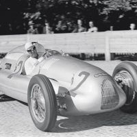 Swiss GP Bremgarten August 20, 1938 The 1938 version of Kautz's Auto Union's D-type was quite a smooth and attractive car. This was a dismal race for Auto Union as apart from Stuck who finished 4th, Kautz retired with a fuel leak, Müller crashed, and Nuvolari had constant plug problems finishing 9th and four laps behind.