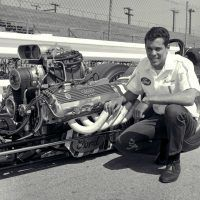 "Don ""Snake"" Prudhomme with the Lou Baney–Prudhomme ""Shelby Super Snake"" fuel dragster, sponsored by Carroll Shelby. The engine is an Ed Pink blown injected 427 SOHC Ford engine and was first fueler to break the 6-second quarter in NHRA competition. Prudhomme and Lou Baney campaigned the car in 1968 and 1969 seasons and won the 1968 Winternationals. Ford Motor Company"