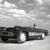 One of the many DePaolo-built '56 T-Birds that ran at Daytona Beach Speed Weeks on the sand in 1956 and 1957. Note the Moon discs, streamlined headlight covers, and small Plexi screen replacing the full windshield. Ford Motor Company
