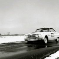 At speed on the road course at Ford Proving Ground. Even with patches of snow and ice, I found the Falcon handled more like a well-sorted-out competition sports car than a beefed-up sedan. Quick steering with 2.25 turns lock to lock was really appreciated. Ford Motor Company