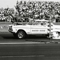 Nobody sat down at the 1964 NHRA Indy Nationals when Jack Chrisman staged his B/FD 427 Comet. They knew there was going to be plenty of smoke when Chrisman launched his 1,000-horsepower, supercharged, fuel-burning Comet. The only class it fit into in NHRA was for fuel dragsters! Best runs were in the high 6s at over 155 miles per hour. Photo by Martyn L. Schorr.