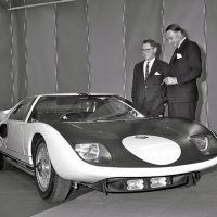 Ford's lead engineer on the GT40 Le Mans project was Roy Lunn, left, with John Wyer, general manager of the project and managing director of Ford's Ford Advanced Vehicles (FAV) in the United Kingdom. This photo was taken at the first press showing of the GT/101 in the United States. Photo by Martyn L. Schorr.