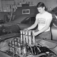 Joel Rosen in 1966 with the Hilborn fuel injection that was used on the Cobra's Match race engine. Rosen ran stock and modified NHRA classes, and Hilborn injection was used on a 340-cubic-inch stroker motor used for match racing. The car was also fitted with Webers for NHRA-AHRA-NASCAR stock sports and modified classes. Photo by Martyn L. Schorr.