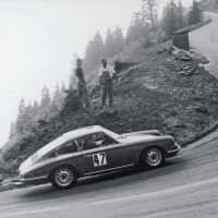 On the Rossfeld hillclimb in 1966, Eberhard Mahle drove this 166-horsepower 911 to victory. At season end, he placed first in the European Hillclimb Championship. Porsche Archiv