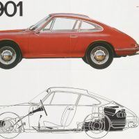 The 901 sales brochure was obsolete within days of the Paris Auto Salon because French carmaker Peugeot protested the designation. The color and black-and-white publication became a collector's item when Porsche renamed the car the 911. Porsche Archiv