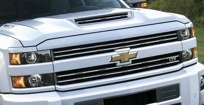 Marked by a stylish yet functional hood scoop, Chevy's new air intake system provides 60 percent of the air to the Duramax diesel engine from an inlet at the front of the hood. The air provided to the engine is very close to the outside ambient temperature but much cooler than the air under the hood. Photo: Chevrolet