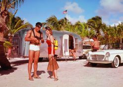 For those with less time on their hands a quick trip to Florida was always a easy choice to make. Imagine parking your trailer right on the beach, with sand and palm trees all around you. The white sports car barely visible to the right is an early 1960's Fiat.