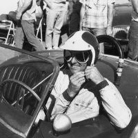 Bob Bondurant smiles, and with good reason. He is sitting in CSX2129 at the August 1963 Continental Divide USRRC race in Colorado (car no. 98), and finished first in GT and fifth overall. Peter Luongo