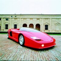 When Piero Ferrari began pondering an F40 successor in 1989, Pininfarina was exhibiting the Mythos, one of the most spectacular prototypes since their dream cars of the late 1960s. The Mythos won numerous design awards in 1989–1990, the car's cab-forward wedge shape giving sense of the silky, fiveliter flat-12 Testarossa engine lurking in the rear. Pininfarina archives