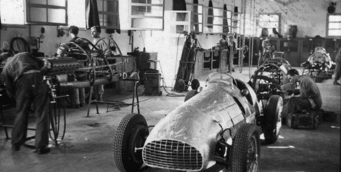 At the time of Chinetti's Le Mans victory, Ferrari was a small constructor focused primarily on racecar production. This is the competition department in September 1950; in the foreground is a 125 C, while over to the left the first 375 F1 is under construction. The latter's powerplant would play a major role in Ferrari's first hypercars. The Mailander collection at the Revs Institute for Automotive Research